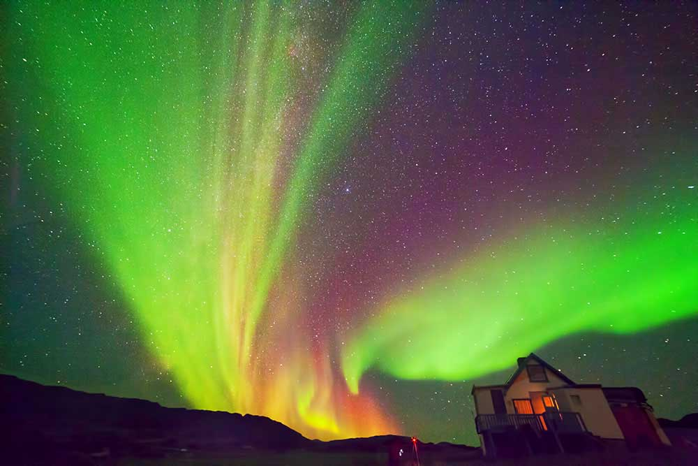 Aurora boreal, Groenlandia, Sheilos